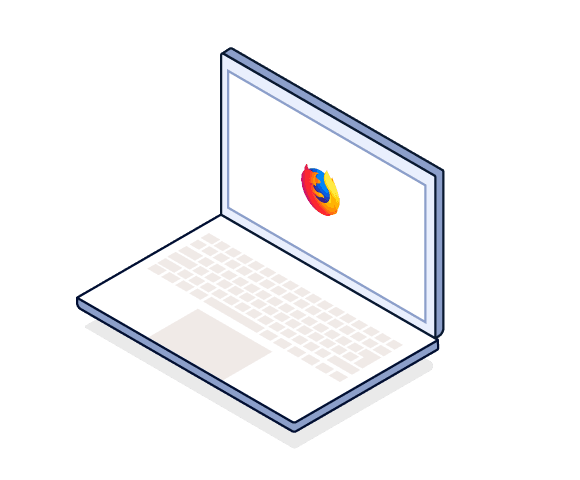 Illustration of laptop computer with Mozilla Firefox logo in the center