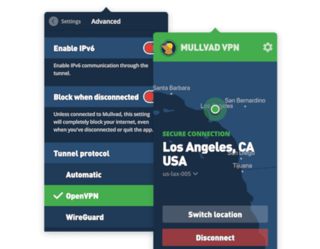 Mullvad VPN screenshot