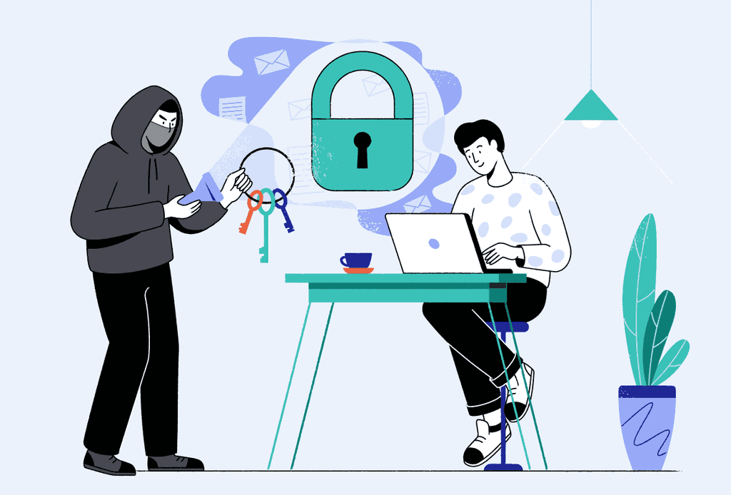illustration of a cafe setting where a hacker with a set of keys is ready to unlock access to a man's internet connection