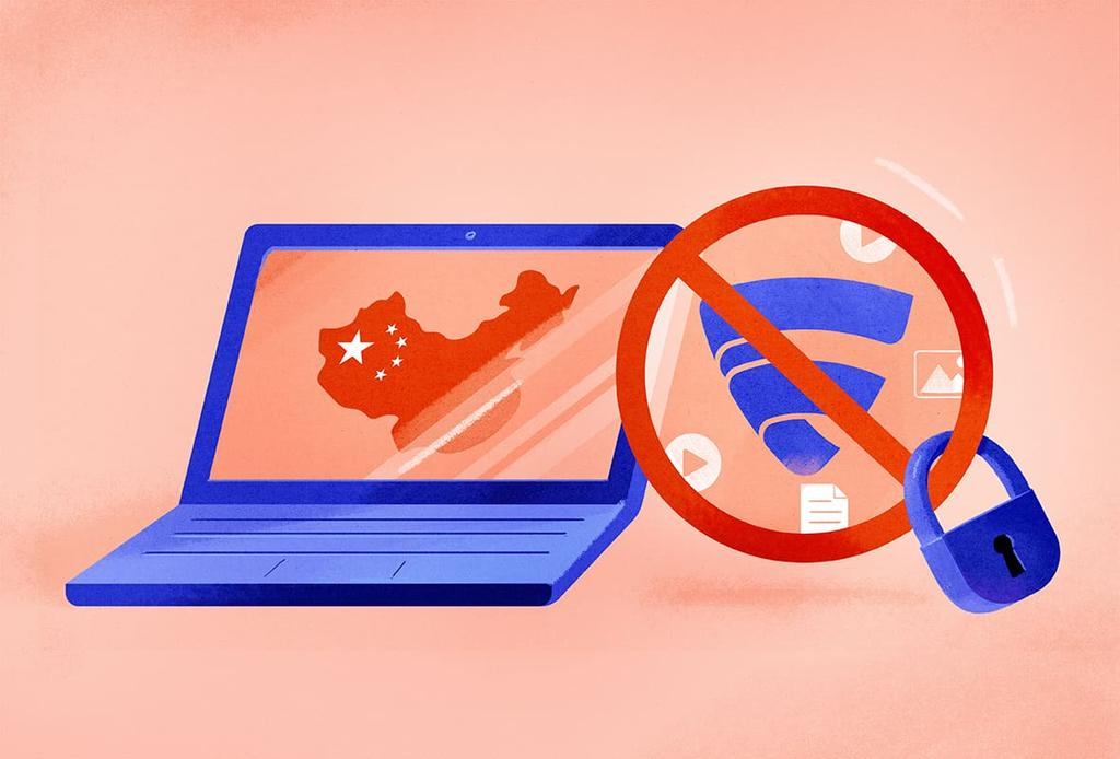 illustration showing the F-Secure Freedome VPN logo locked from working on a laptop displaying the Chinese flag