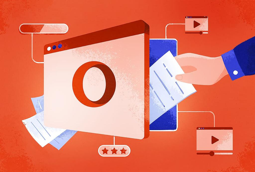 illustration of a hand putting documents into a safe branded with the Opera logo