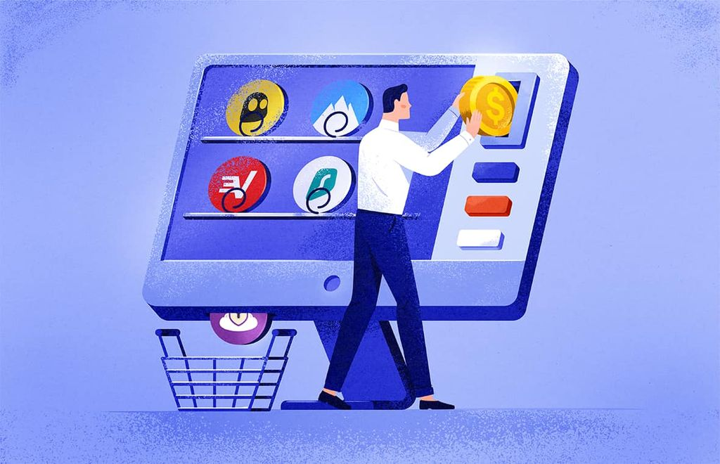 illustration of a man purchasing a VPN from a computer screen that is designed like a vending machine