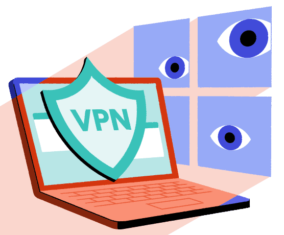 A illustration of a Windows spying on a PC protected by a VPN