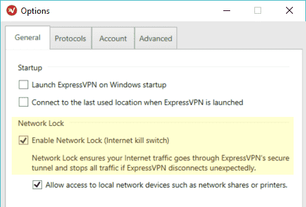 ExpressVPN killswitch screenshot