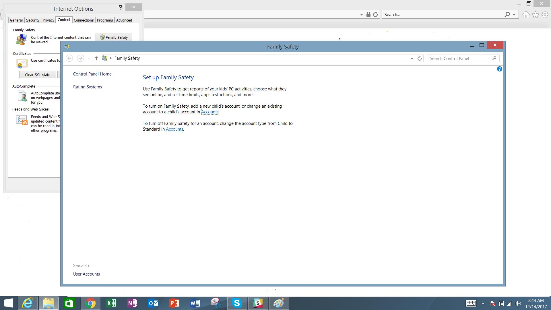 Parental controls on Microsoft Internet Explorer