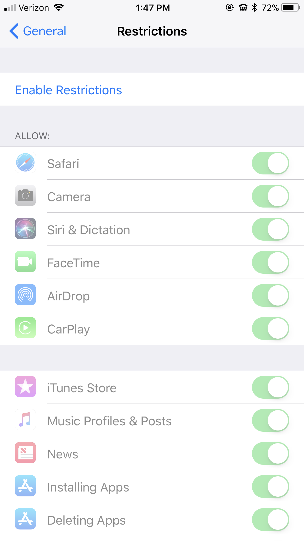 Parental controls on iOS for iPhone