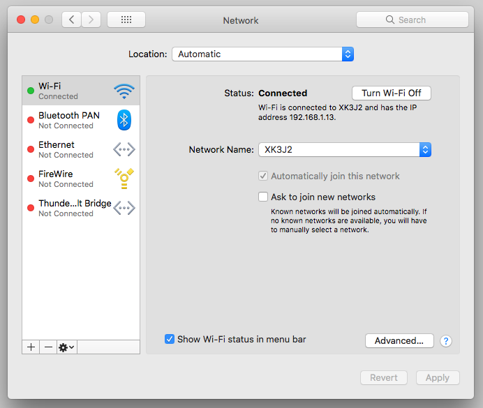 WiFi controls on Apple macOS