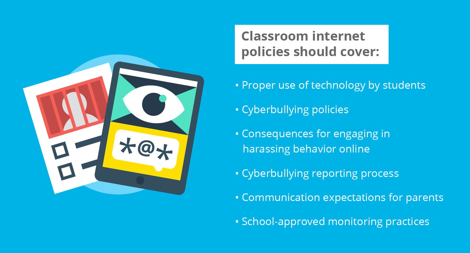 A list of points to be covered by classroom internet policy