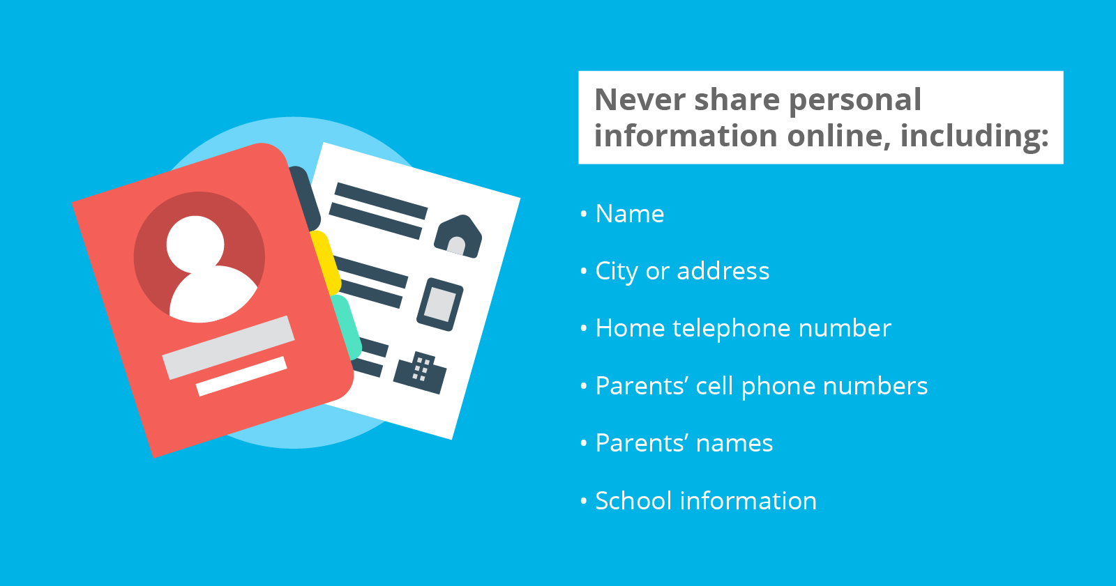 A list of personal information not to share online