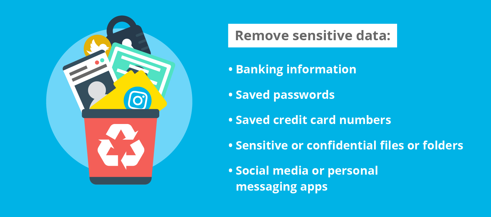 A list of sensitive data to remove from your devices before traveling