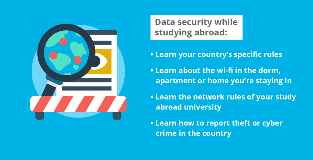 A list of tips on data security while studying abroad