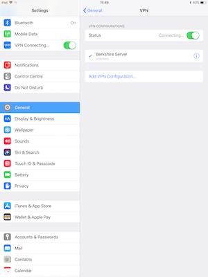 ExpressVPN iPad L2TP connected screen