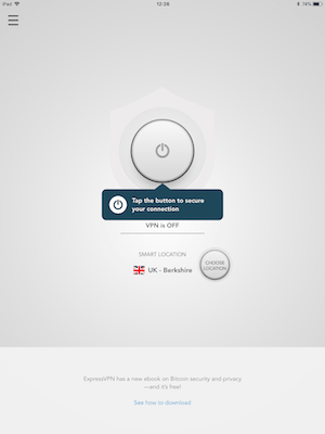 ExpressVPN iPad main screen disconnected