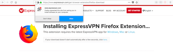 Adding the ExpressVPN extension to Mozilla Firefox