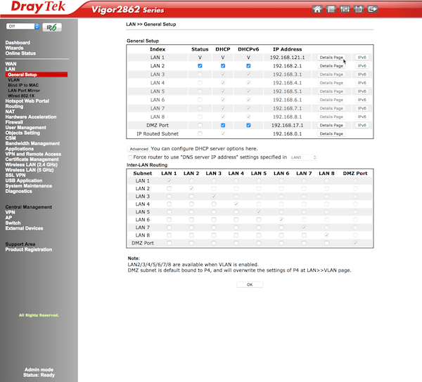 DrayTek router details screen