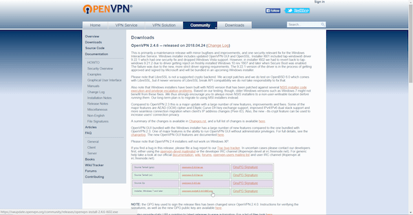 OpenVPN download page