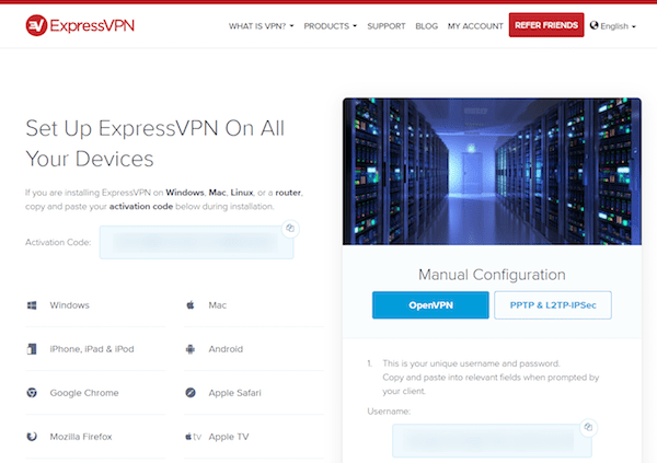 ExpressVPN manual configuration page