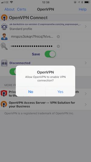ExpressVPN iPhone OpenVPN allow connection