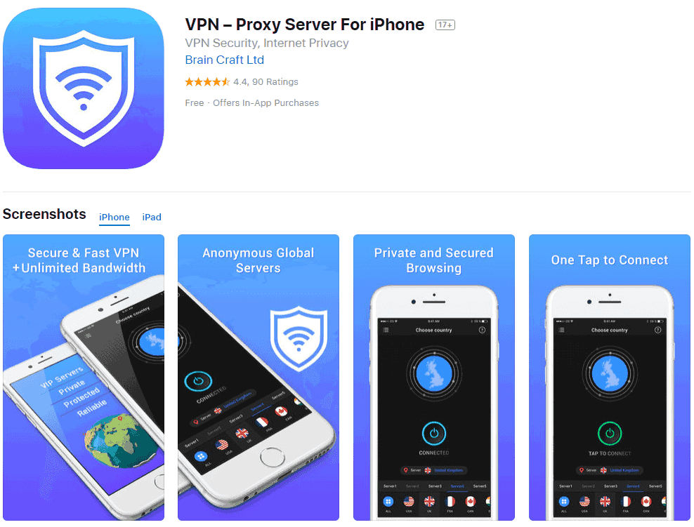 Free VPN Investigation: VPN Proxy for iPhone App Store listing screenshot