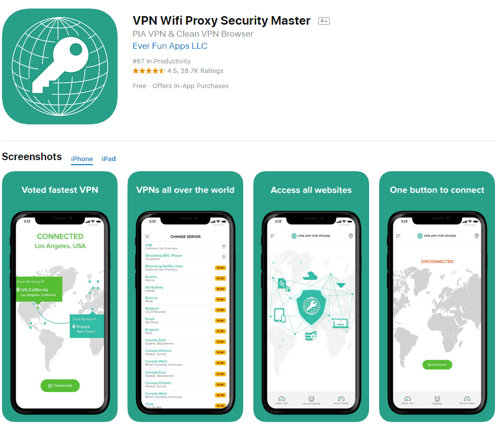 VPN WiFi Proxy Security Master App Store listing screenshot