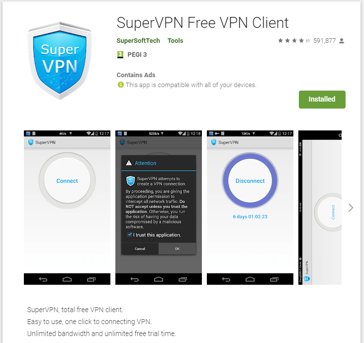 SuperVPN Free VPN Client Google Play listing screenshot