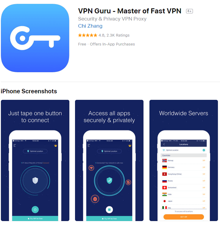 VPN Guru App Store listing screenshot