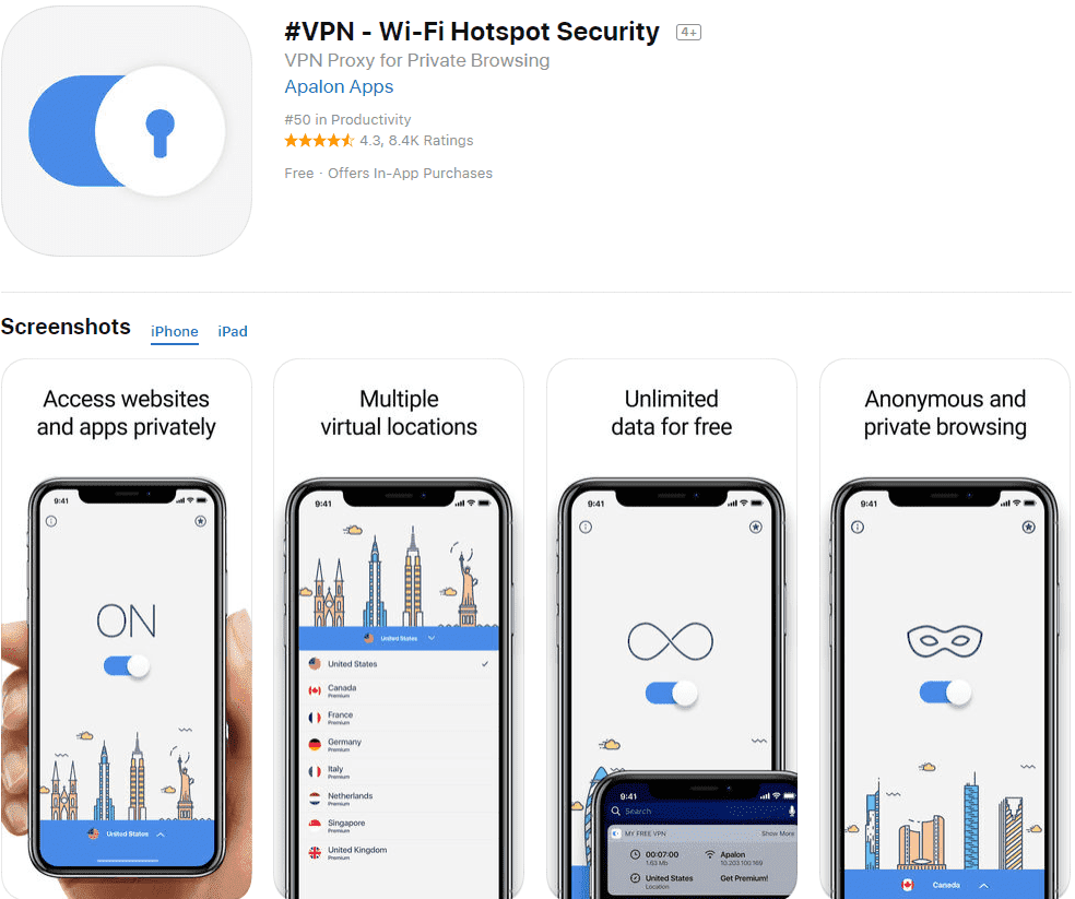 #VPN App Store listing screenshot