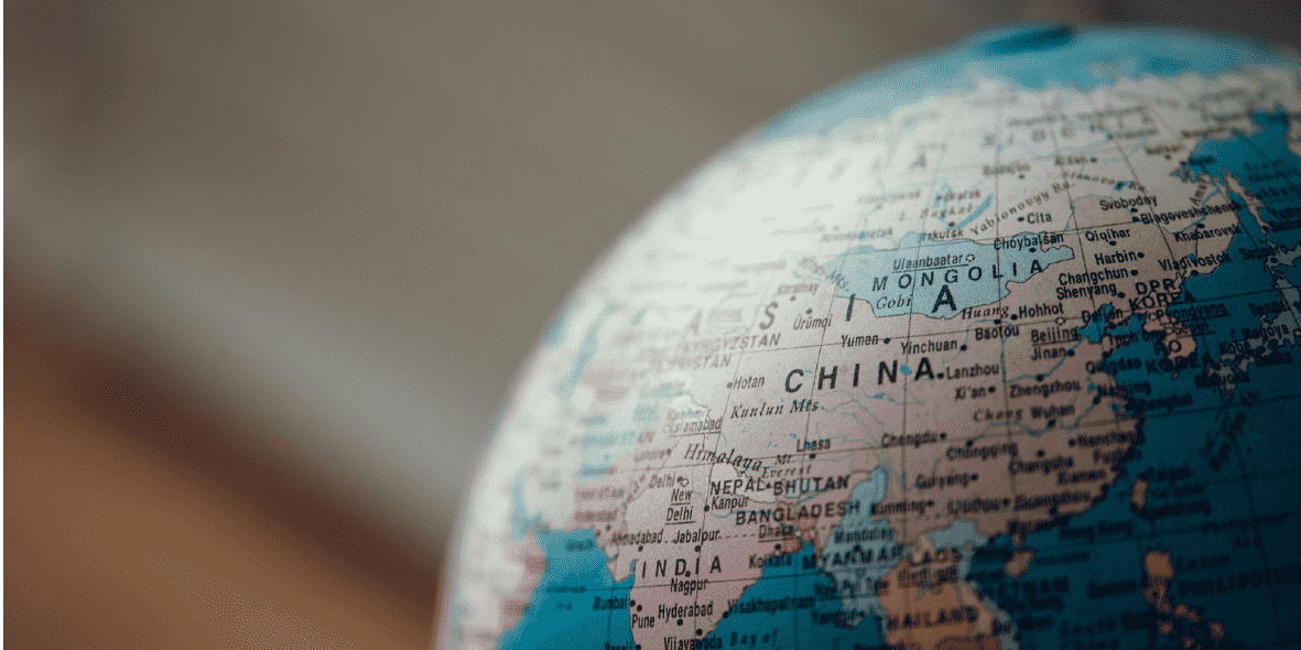 Photo of a model globe focused on China
