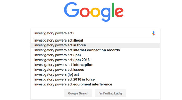 Google search for Investigatory Powers Act