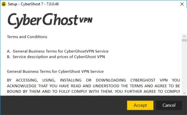Screenshot of CyberGhost Free Trial Accept Terms