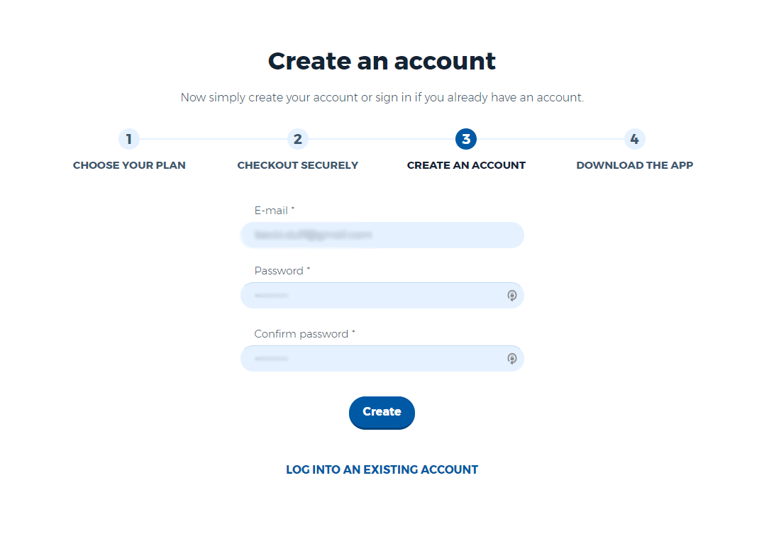 Create account page on the HideMyAss! website