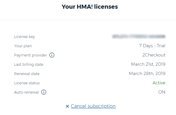 Active licenses as seen in the My Account section of the HideMyAss! website