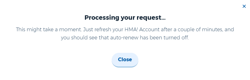 HideMyAss! free trial refund processing message