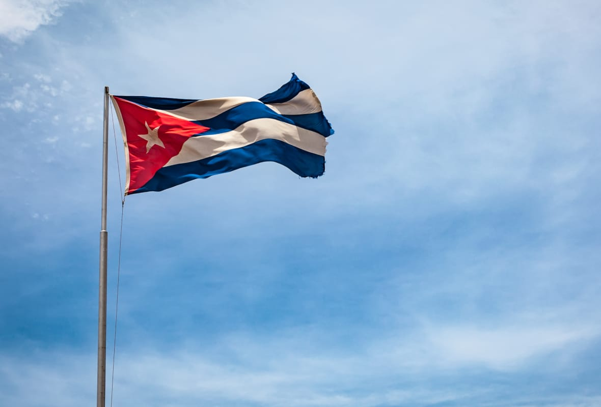The flying flag of Cuba