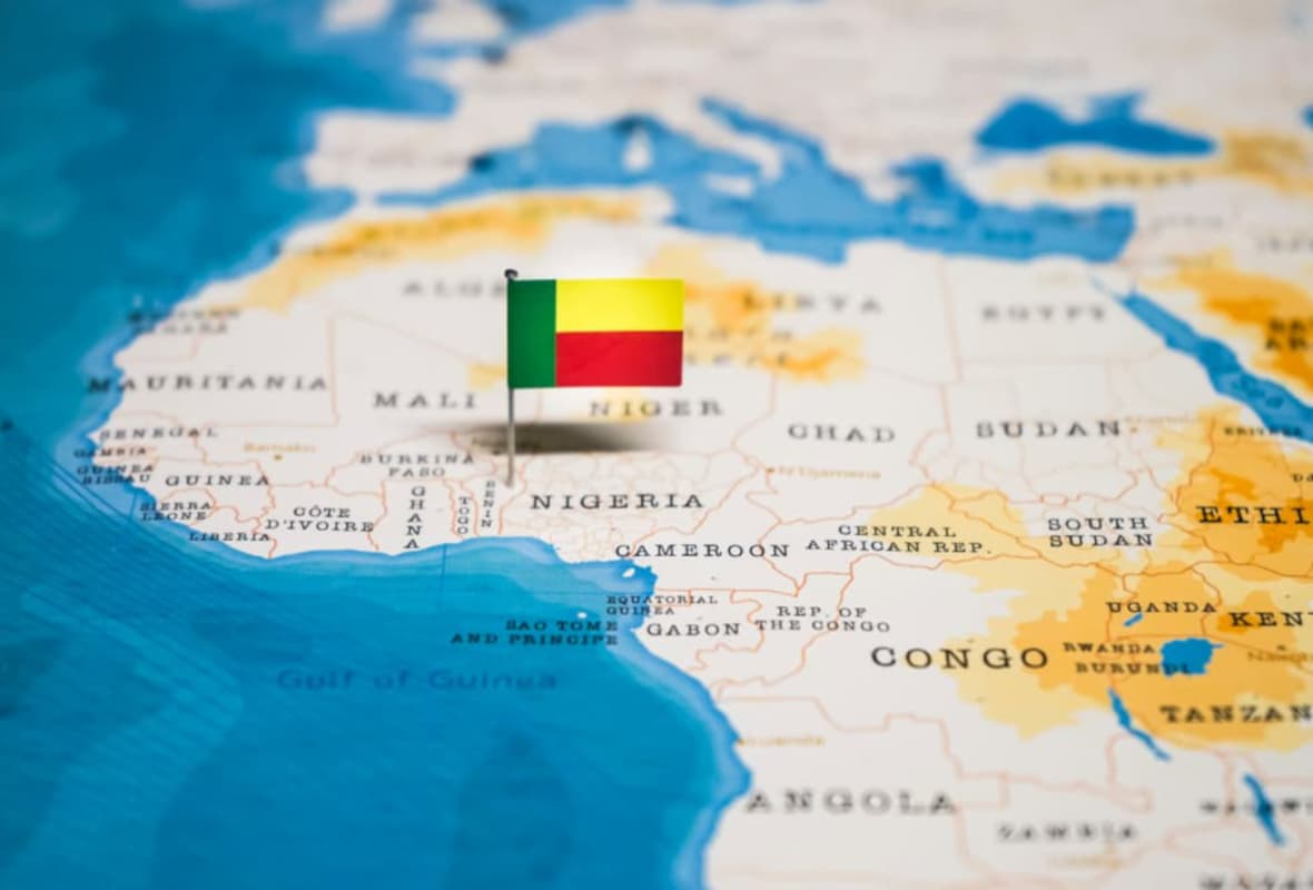 Map of African Continent with Benin Flag