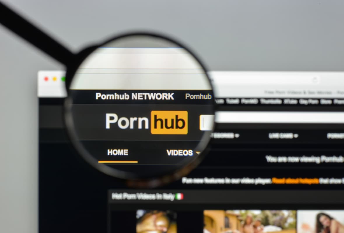 Magnified image of PornHub logo on a laptop screen