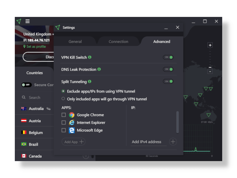 Screenshot of ProtonVPN Settings Menu in App