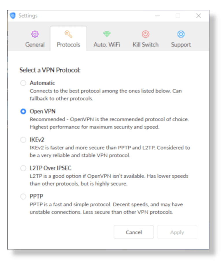 Screenshot of SaferVPN Protocol Settings in App