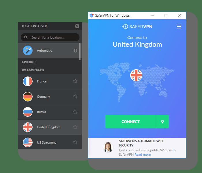 Screenshot of SaferVPN Server List in App