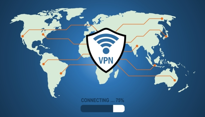 Illustration of VPN Symbol Over a Map of the Planet