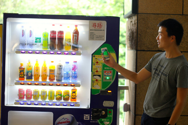 Chinese man buys drink with WeChat