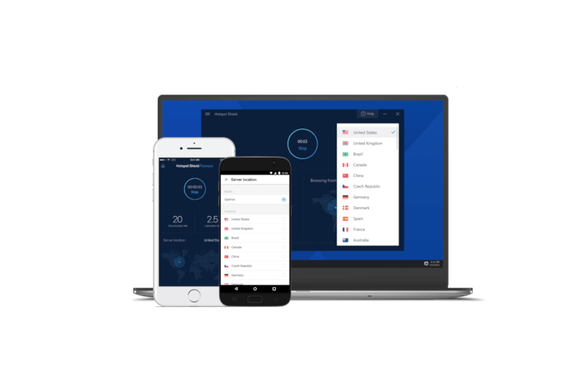 Screenshot of Hotspot Shield Apps on Various Devices