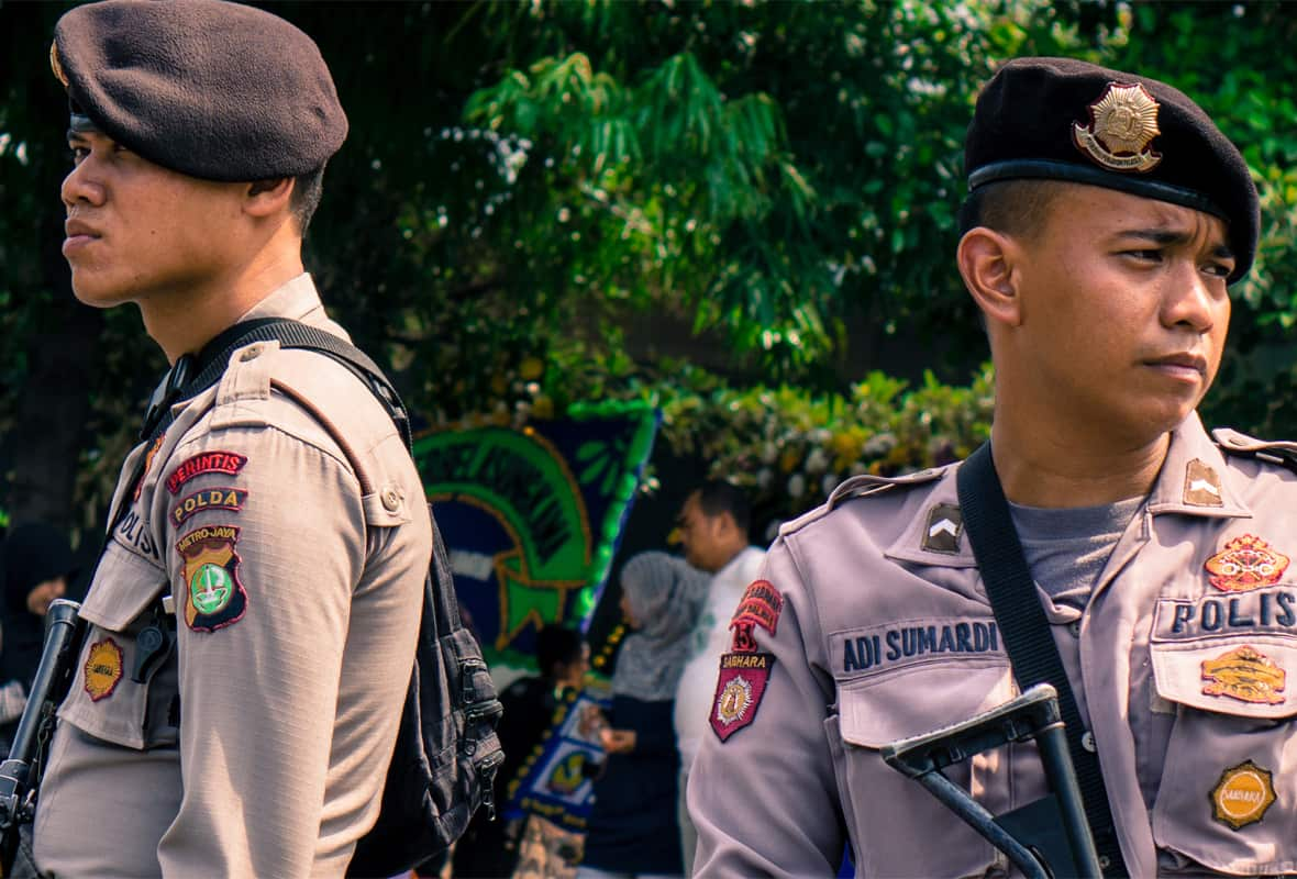 Two Indonesian police officers in Jakarta