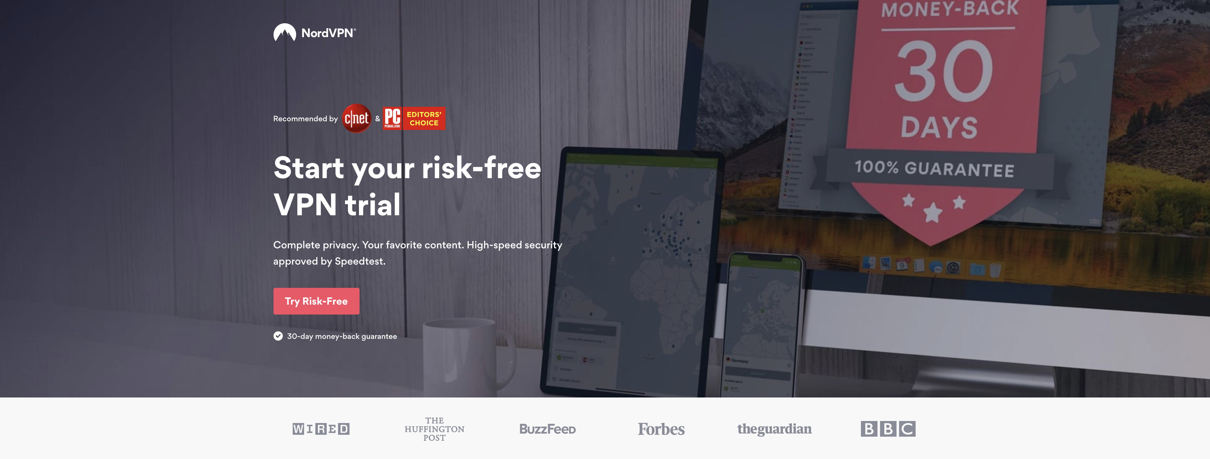 NordVPN Main Page for Free Trial