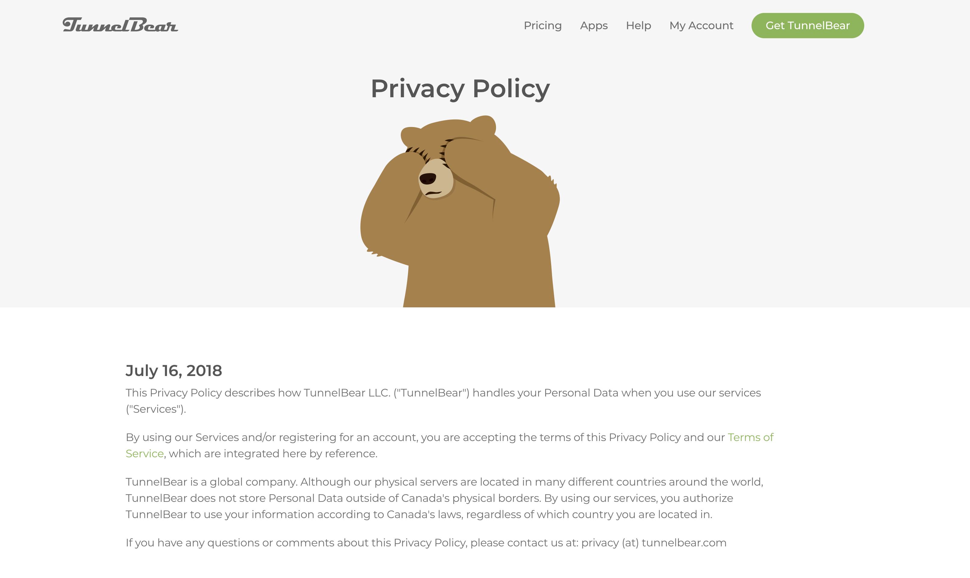 Excerpt from TunnelBear Privacy Policy from the TunnelBear Website