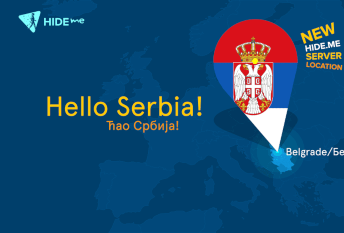 Hide.me Promotional Graphic Displaying New Serbia Server Location