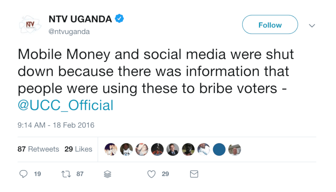 Tweet from NTV Uganda