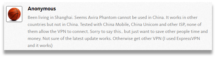 Screenshot of a comment on Avira Phantom's user forums