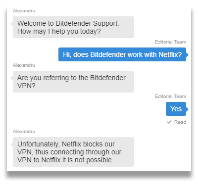 Screenshot of a Bitdefender live chat agent saying the VPN doesn't work with Netflix