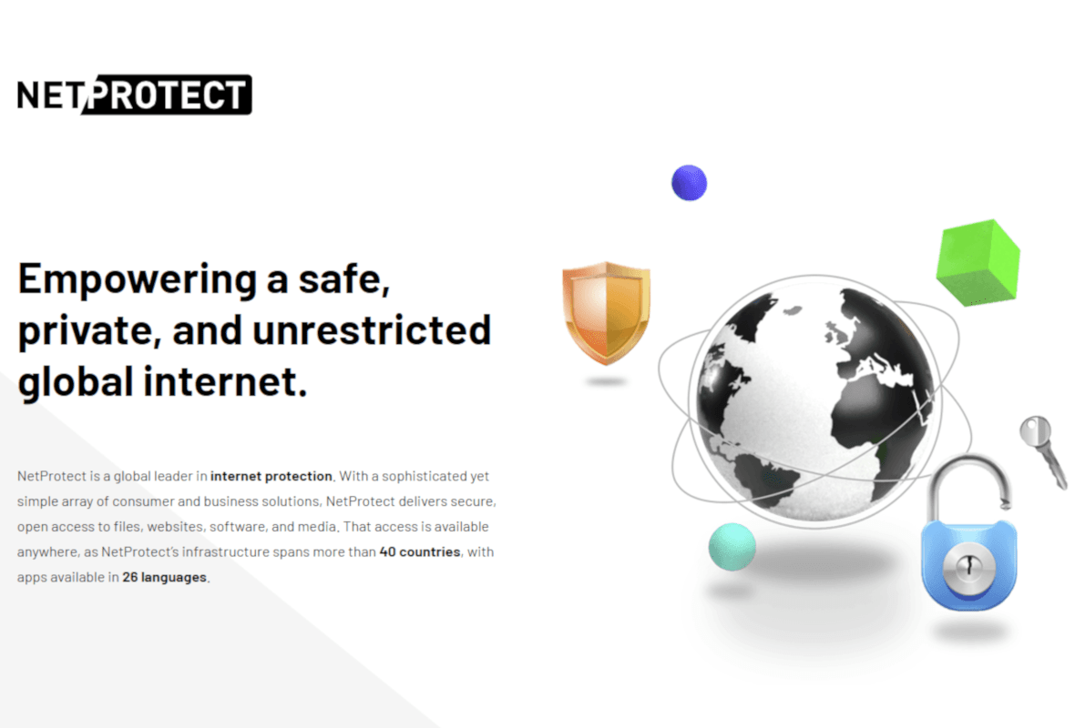 NetProtect marketing material showing graphic of a globe and a security padlock